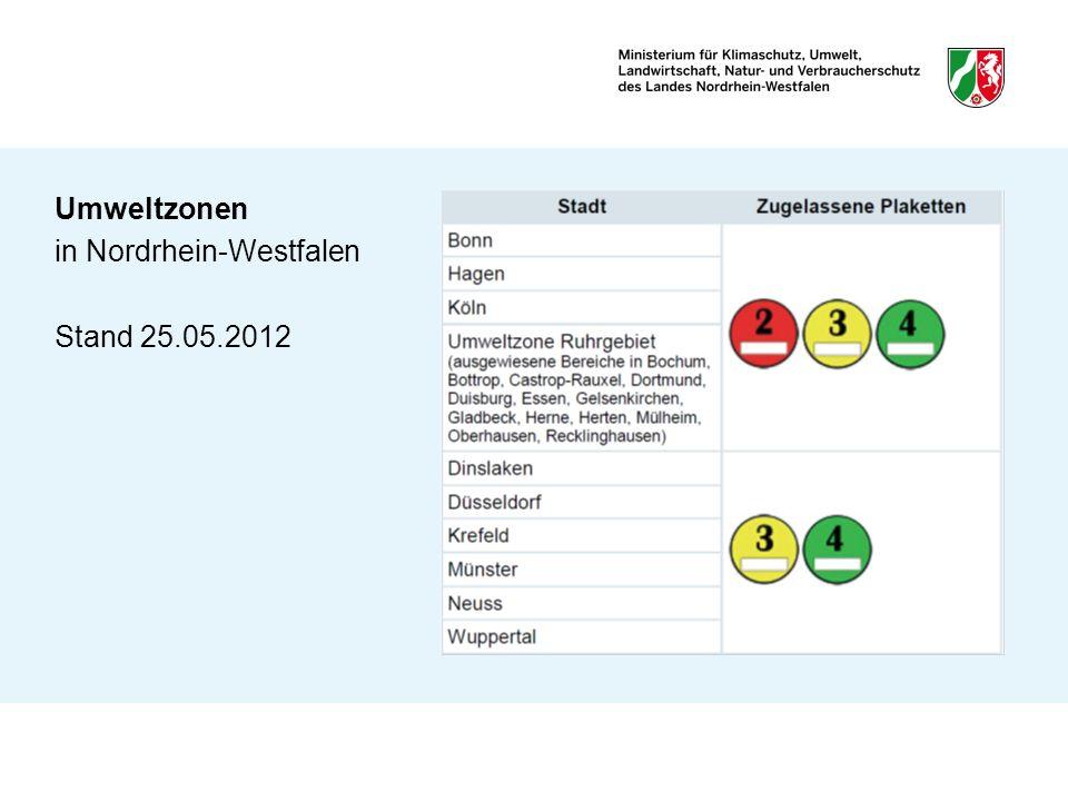 Umweltzonen in Nordrhein-Westfalen Stand 25.05.2012