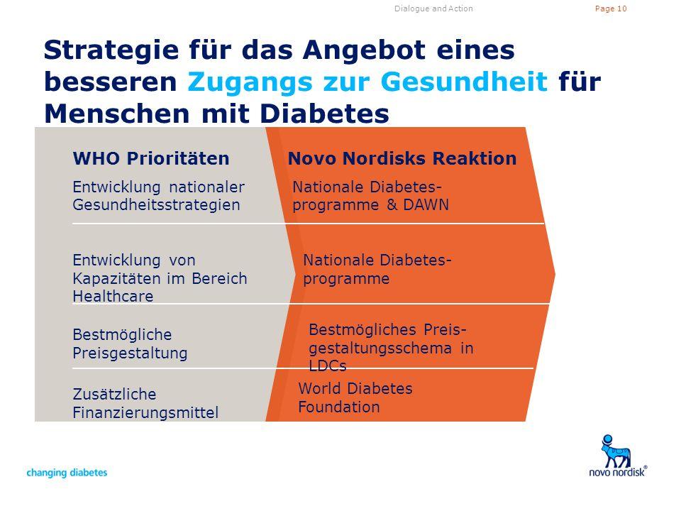 Dialogue and Action Strategie für das Angebot eines besseren Zugangs zur Gesundheit für Menschen mit Diabetes.