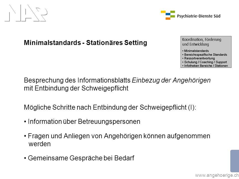 Minimalstandards - Stationäres Setting