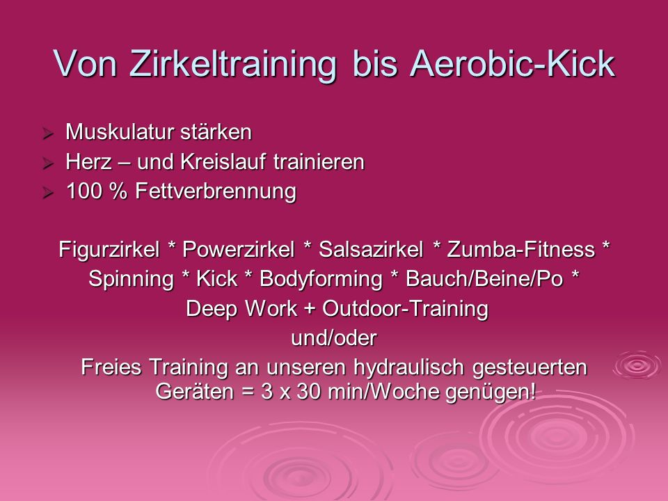 Von Zirkeltraining bis Aerobic-Kick