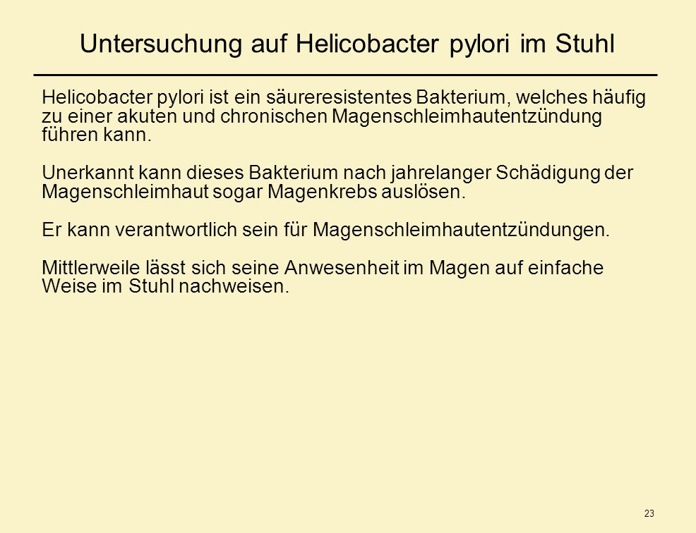 Untersuchung auf Helicobacter pylori im Stuhl