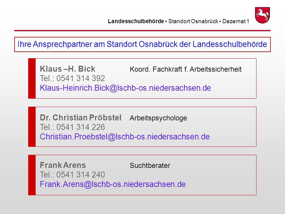 Ihre Ansprechpartner am Standort Osnabrück der Landesschulbehörde