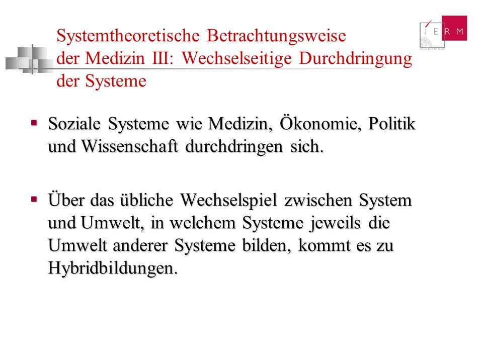 Systemtheoretische Betrachtungsweise der Medizin III: Wechselseitige Durchdringung der Systeme