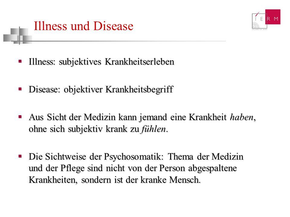 Illness und Disease Illness: subjektives Krankheitserleben