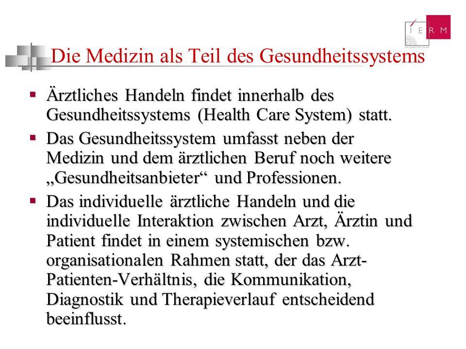 Die Medizin als Teil des Gesundheitssystems