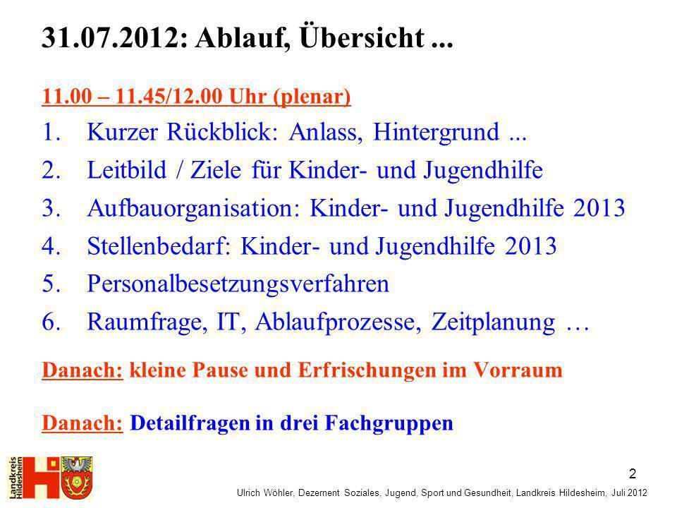 31.07.2012: Ablauf, Übersicht ... 11.00 – 11.45/12.00 Uhr (plenar) Kurzer Rückblick: Anlass, Hintergrund ...