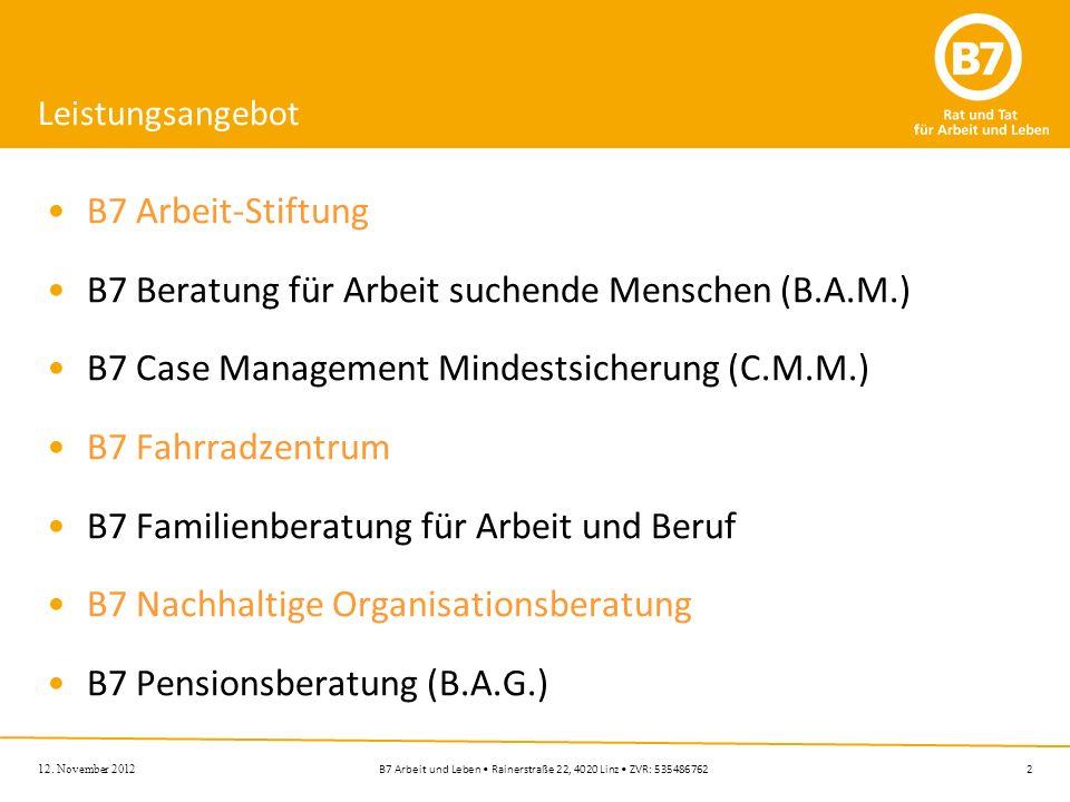 B7 Beratung für Arbeit suchende Menschen (B.A.M.)