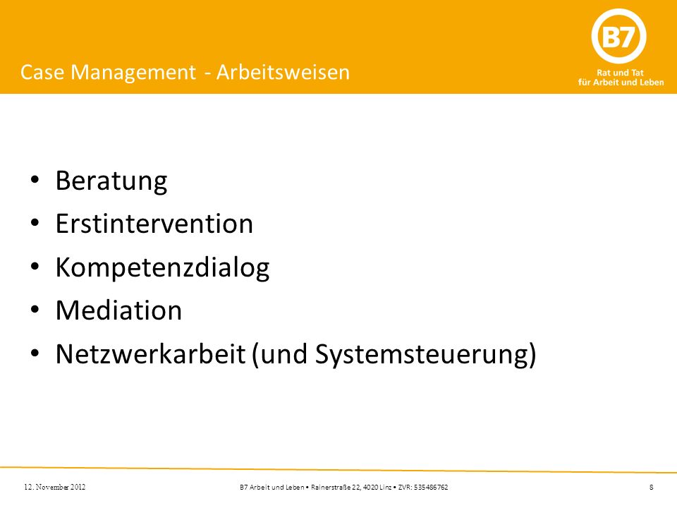 Case Management - Arbeitsweisen