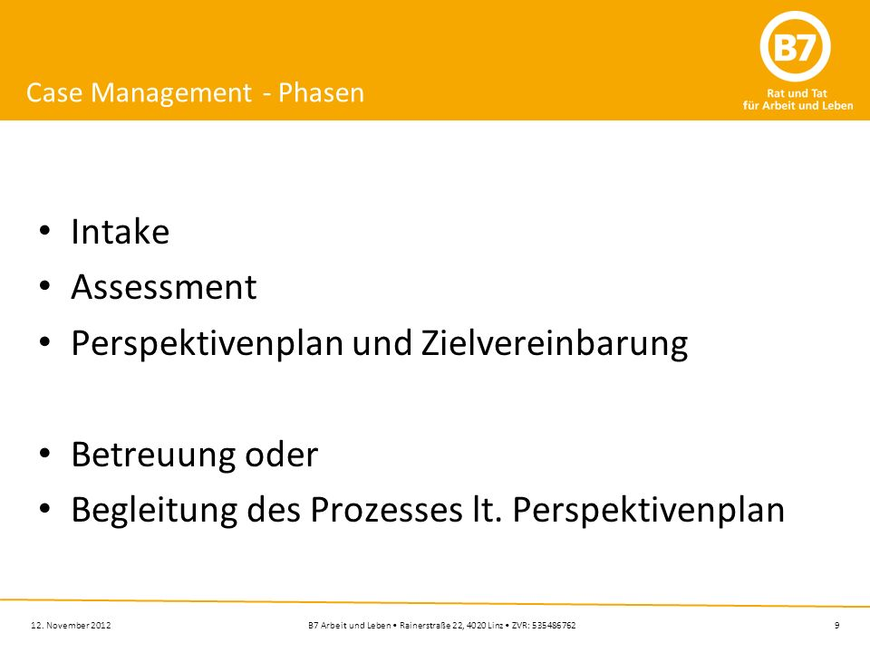 Case Management - Phasen