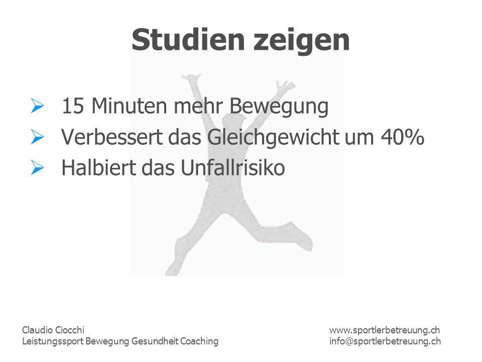 Studien zeigen 15 Minuten mehr Bewegung