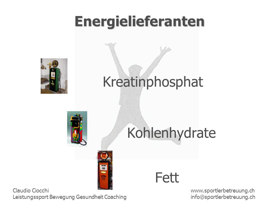 Energielieferanten Kreatinphosphat Kohlenhydrate Fett