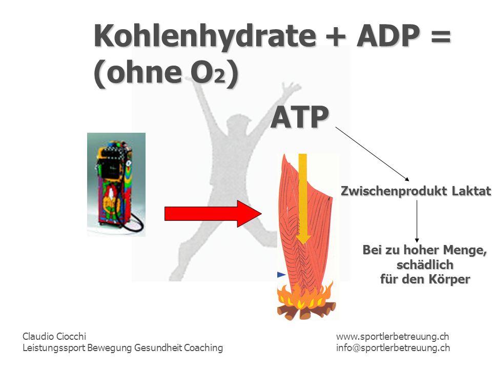 Kohlenhydrate + ADP = (ohne O2) ATP Zwischenprodukt Laktat