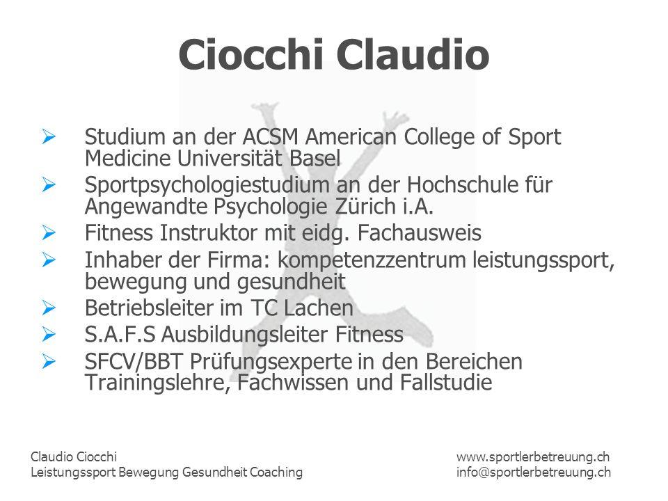 Ciocchi Claudio Studium an der ACSM American College of Sport Medicine Universität Basel.