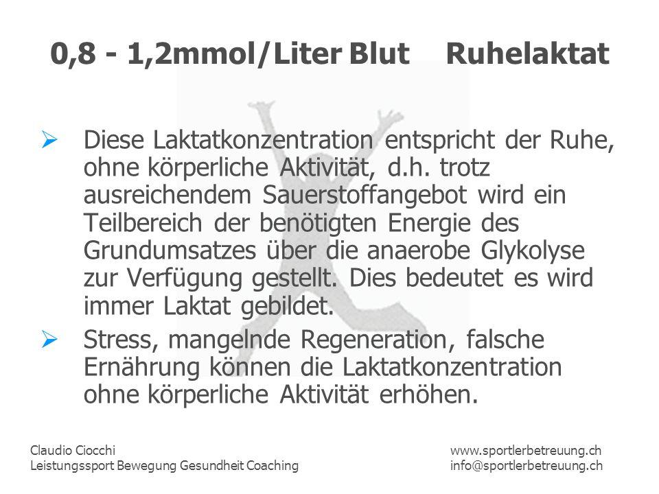 0,8 - 1,2mmol/Liter Blut Ruhelaktat