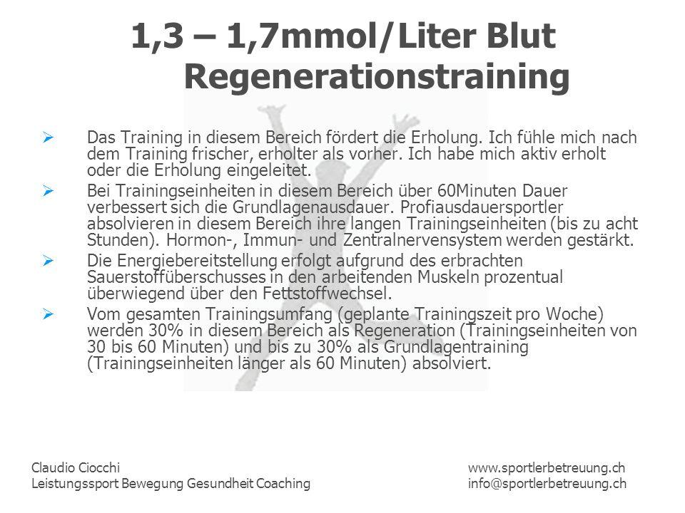 1,3 – 1,7mmol/Liter Blut Regenerationstraining