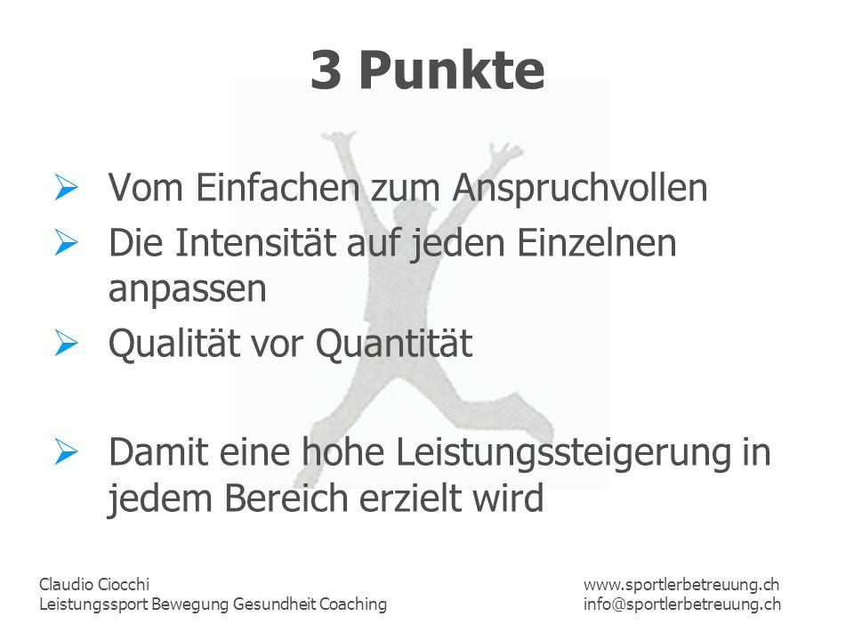 3 Punkte Vom Einfachen zum Anspruchvollen