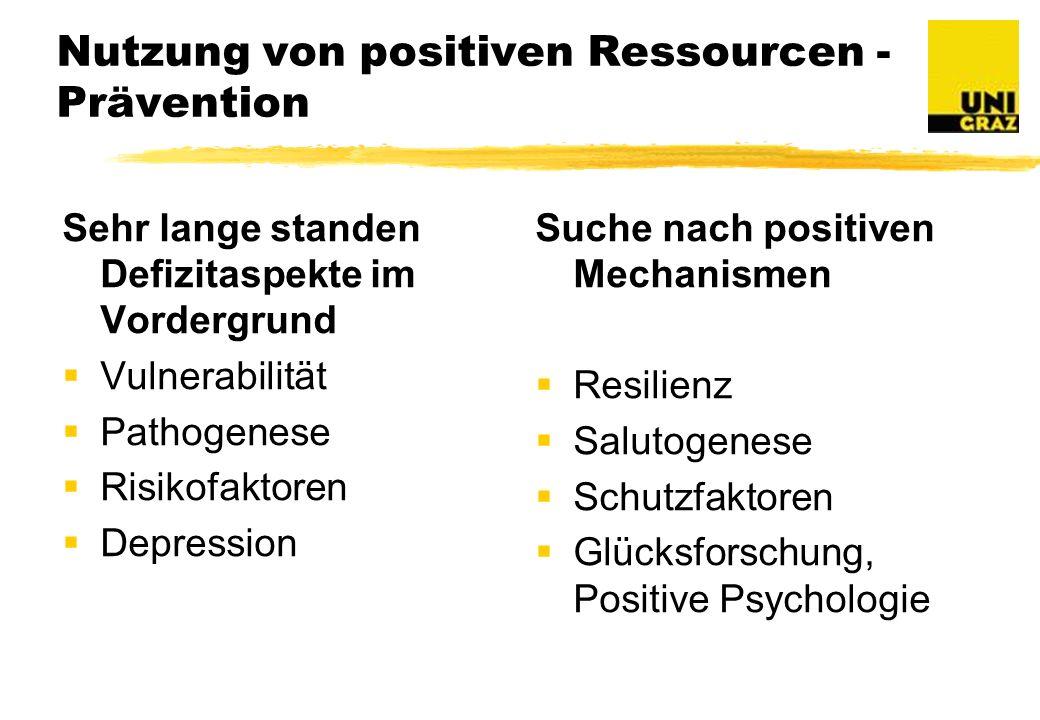 Nutzung von positiven Ressourcen - Prävention