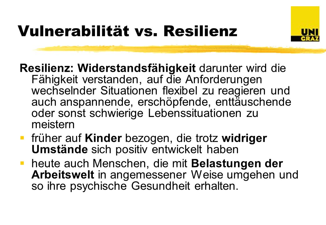 Vulnerabilität vs. Resilienz