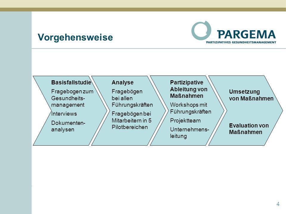 Vorgehensweise Basisfallstudie Fragebogen zum Gesundheits-management
