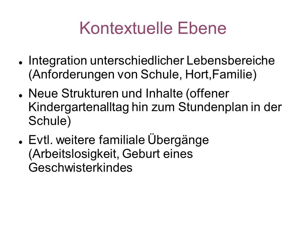 Kontextuelle Ebene Integration unterschiedlicher Lebensbereiche (Anforderungen von Schule, Hort,Familie)