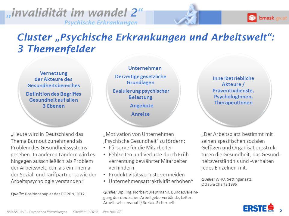 """Cluster """"Psychische Erkrankungen und Arbeitswelt : 3 Themenfelder"""