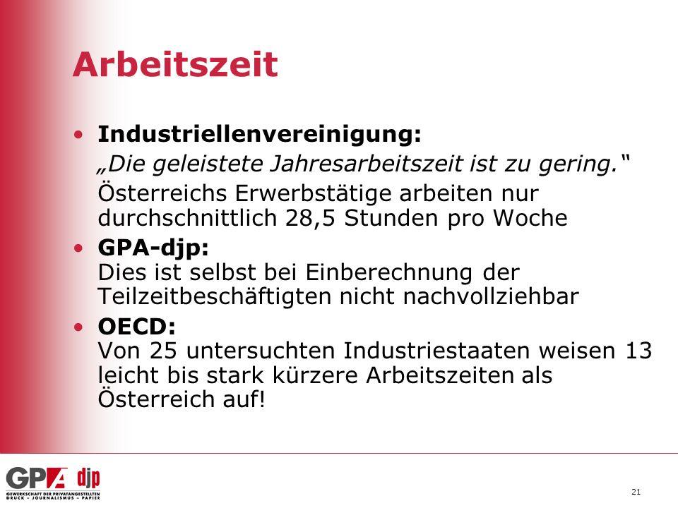Arbeitszeit Industriellenvereinigung: