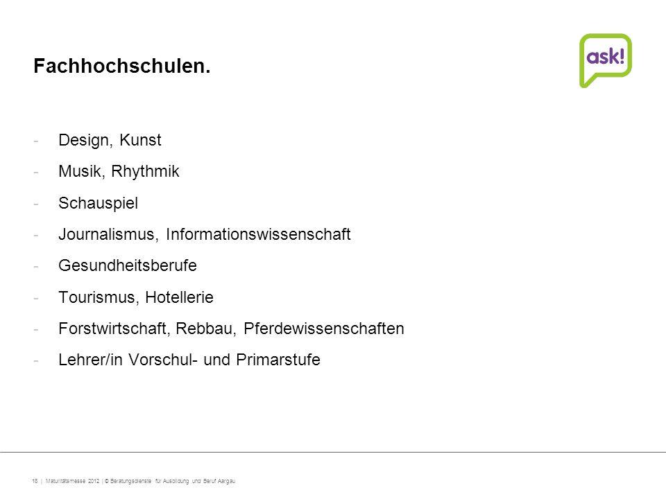 Fachhochschulen. Design, Kunst Musik, Rhythmik Schauspiel