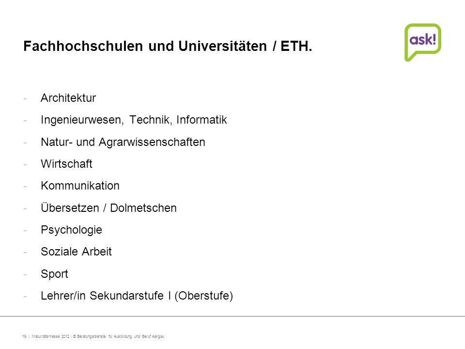 Fachhochschulen und Universitäten / ETH.