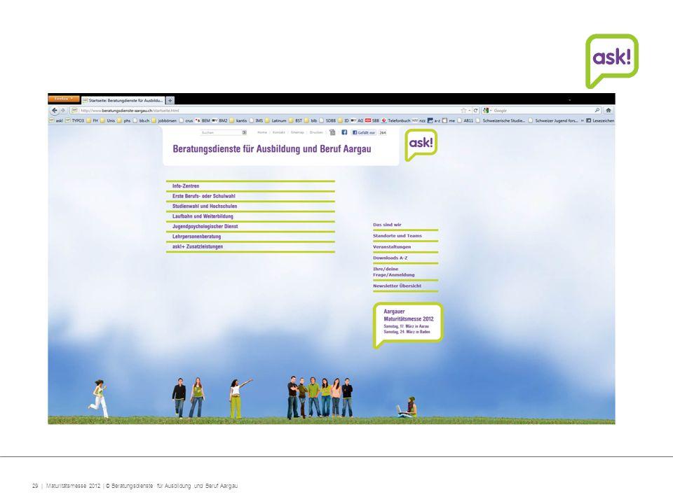 29 | Maturitätsmesse 2012 | © Beratungsdienste für Ausbildung und Beruf Aargau