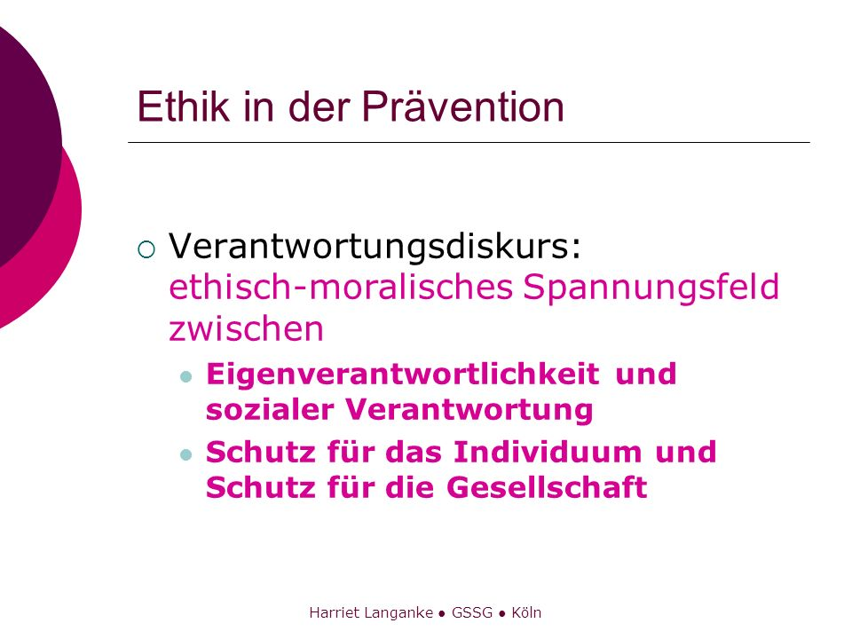Ethik in der Prävention