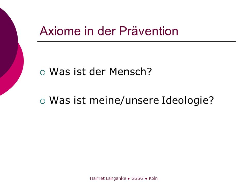 Axiome in der Prävention