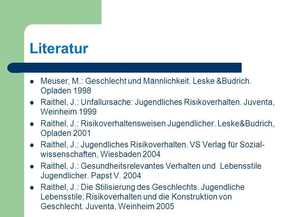 Literatur Meuser, M.: Geschlecht und Männlichkeit. Leske &Budrich. Opladen 1998.