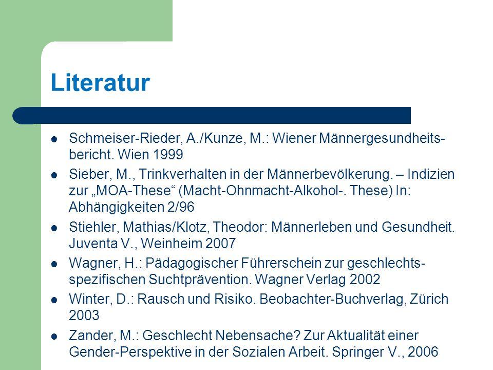 Literatur Schmeiser-Rieder, A./Kunze, M.: Wiener Männergesundheits-bericht. Wien 1999.