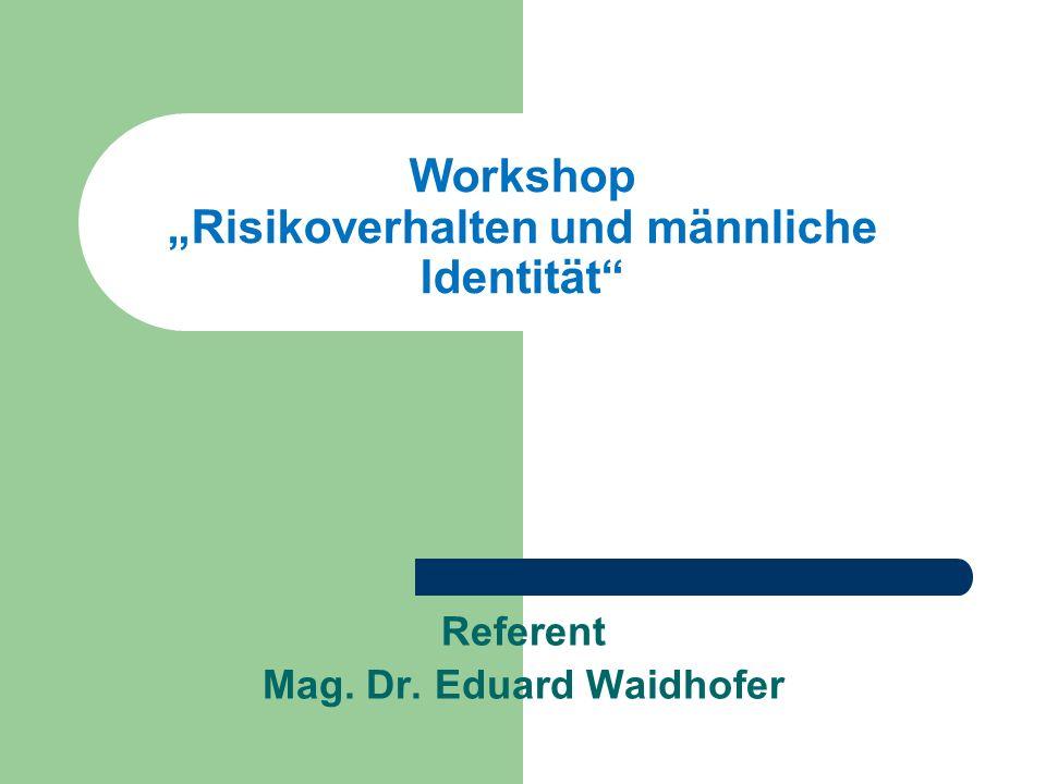 """Workshop """"Risikoverhalten und männliche Identität"""