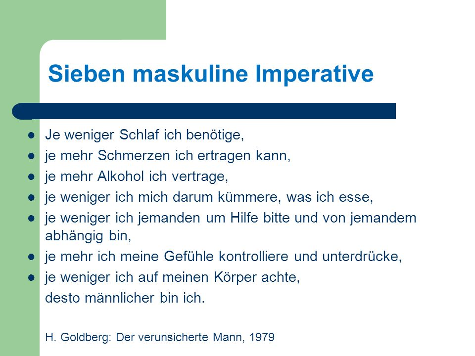 Sieben maskuline Imperative