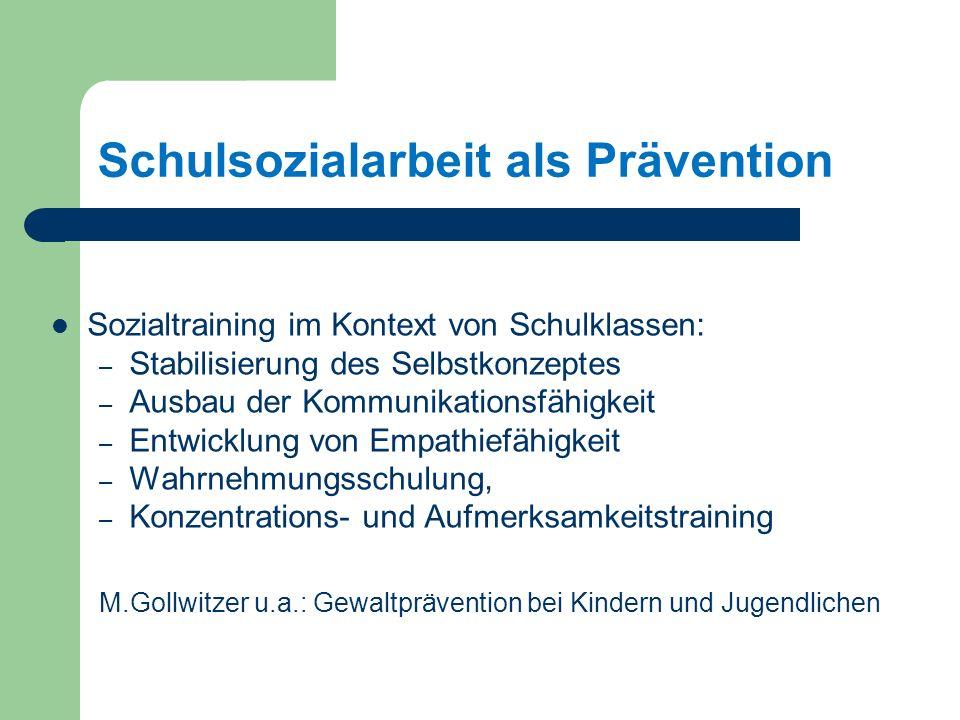 Schulsozialarbeit als Prävention