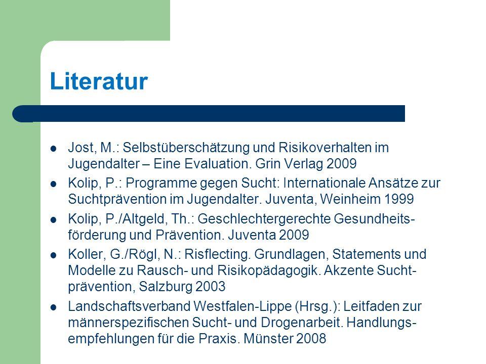Literatur Jost, M.: Selbstüberschätzung und Risikoverhalten im Jugendalter – Eine Evaluation. Grin Verlag 2009.