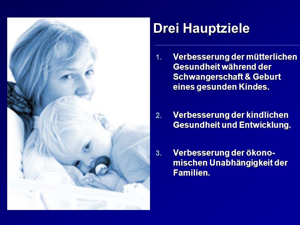 Drei Hauptziele Verbesserung der mütterlichen Gesundheit während der Schwangerschaft & Geburt eines gesunden Kindes.
