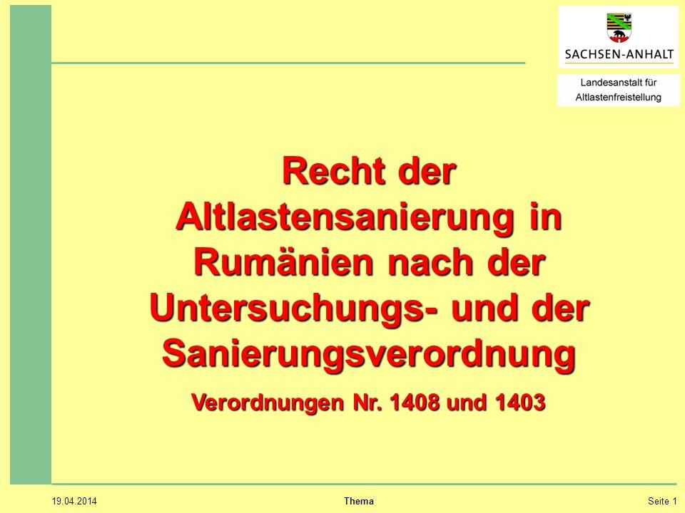 Recht der Altlastensanierung in Rumänien nach der Untersuchungs- und der Sanierungsverordnung