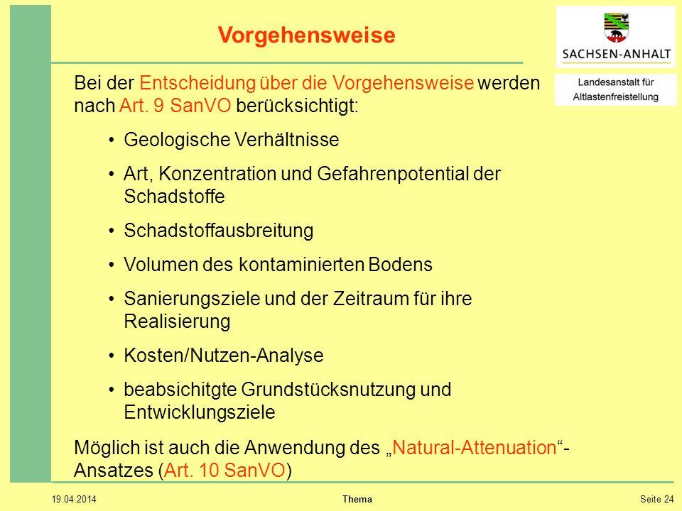 Vorgehensweise Bei der Entscheidung über die Vorgehensweise werden nach Art. 9 SanVO berücksichtigt:
