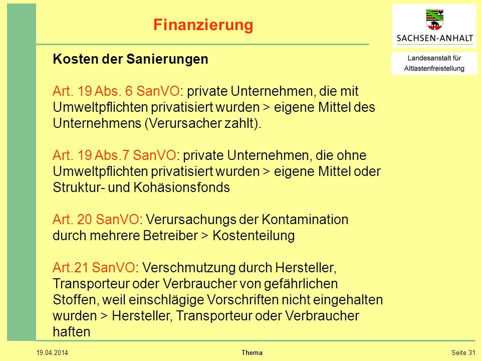 Finanzierung Kosten der Sanierungen