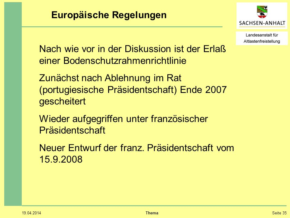 Europäische Regelungen