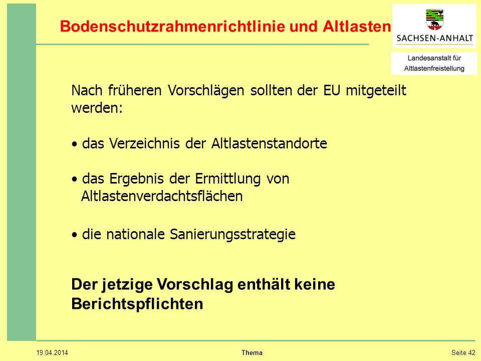 Bodenschutzrahmenrichtlinie und Altlasten