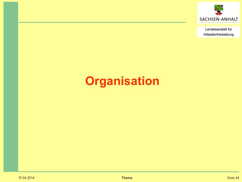 Organisation 28.03.2017 Thema