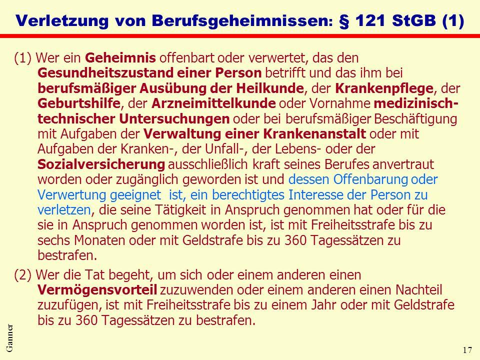 Verletzung von Berufsgeheimnissen: § 121 StGB (1)