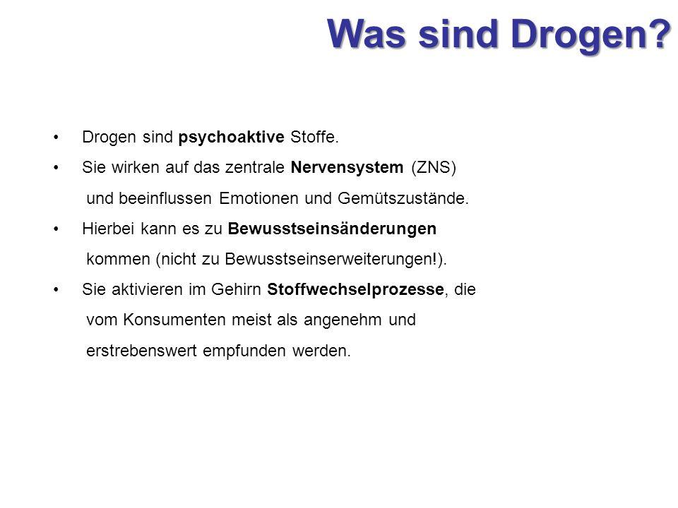 Was sind Drogen Drogen sind psychoaktive Stoffe.