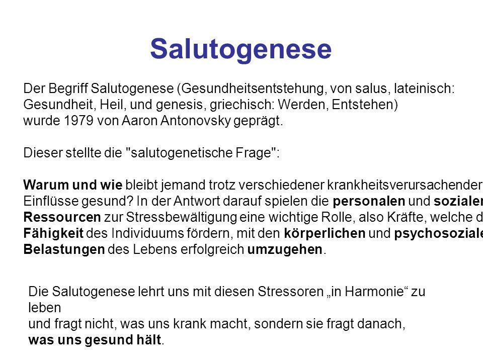 Salutogenese Der Begriff Salutogenese (Gesundheitsentstehung, von salus, lateinisch: Gesundheit, Heil, und genesis, griechisch: Werden, Entstehen)