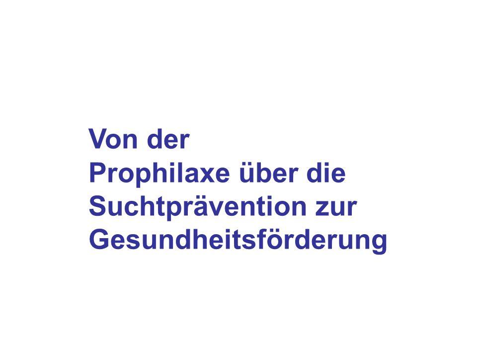 Von der Prophilaxe über die Suchtprävention zur Gesundheitsförderung