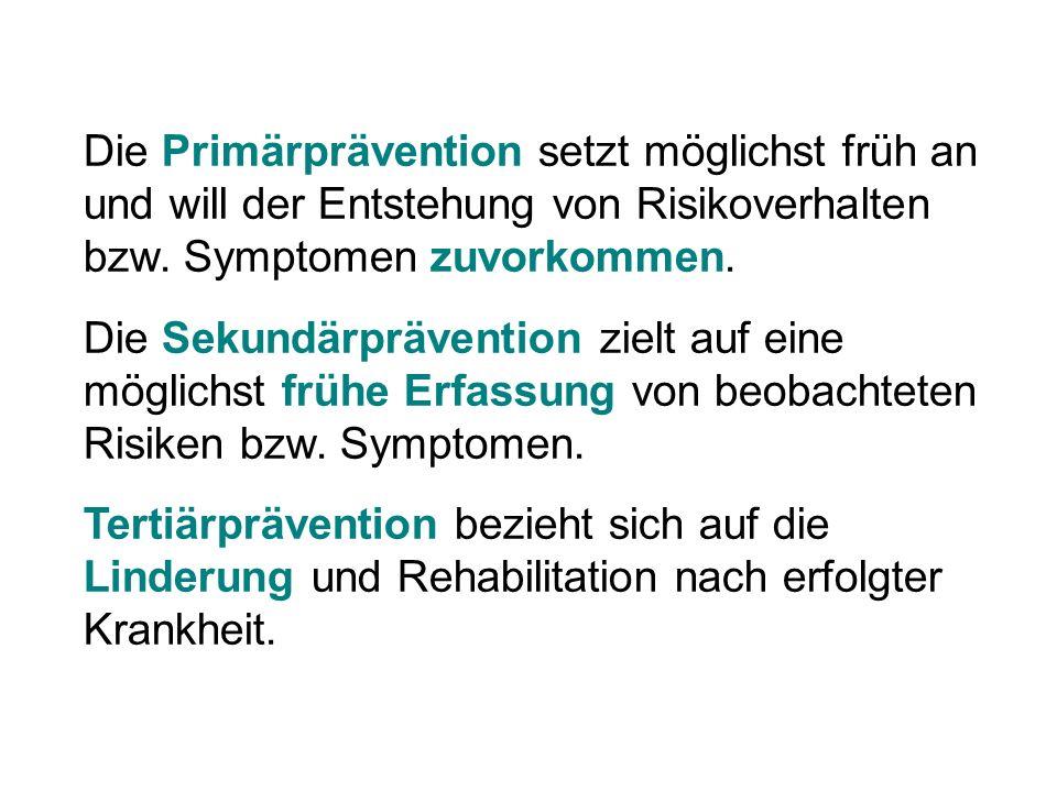 Die Primärprävention setzt möglichst früh an und will der Entstehung von Risikoverhalten bzw. Symptomen zuvorkommen.