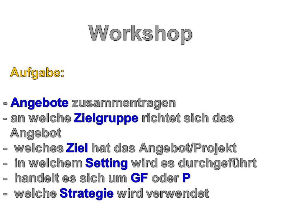 Workshop Aufgabe: - Angebote zusammentragen